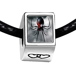 Chicforest Silver Plated black widow spider Photo Double Heart Charm Beads Fits Pandora Charm Bracelet