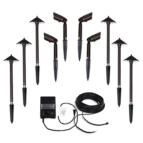 GOODSMANN Low Voltage Landscape Lighting Pro Light Set, Waterproof Low Voltage Lighting with Spike Stand for Garden, Yard, Pathway, Lawn, Driveway Outdoor Lighting 10-Piece (Brass Low Voltage Path)