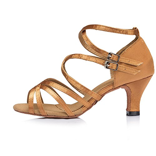 cruzada Kitten Heel Satin Taogo Sandalias Latin Ladies Marrón de Correa Minitoo TH121 Wedding Ballroom baile qxtcXI