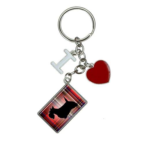 Scottie Dog on Red Plaid Scottish Terrier I Heart Love Keychain Key Ring ()