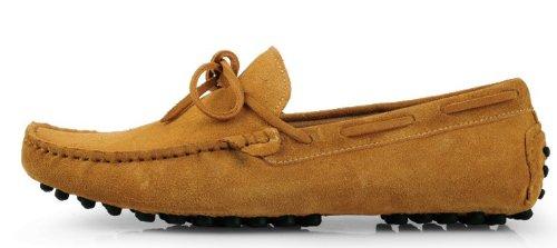 Happyshop (tm) Mens Loafers Skor Tillfällig Suede Komfort Slip-on Tofs Dagdrivare Driv Skor (45 Euro, Jord Gul)
