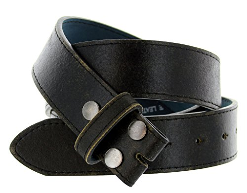 Black Belt Distressed Leather - Classic Vintage Distressed Casual Jean Leather Belt Strap (M(33