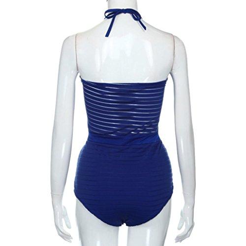 Tefamore atractivas ahueca hacia fuera los trajes de baño de las mujeres hembra de corte bajo sin mangas traje de baño Azul