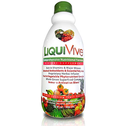 LiquiVive Liquid Vitamins Vegetarian Dietary Supplement | Best Whole Food Anti-Aging Green Superfood Daily Multivitamin | With Vitamin A B12 C D E K | 99.9% Vegan Non-GMO Gluten Free 32 fl oz