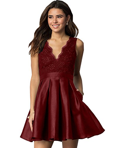 Women's Lace V Neck A Line Homecoming Dress Short Evening Party Dress with Pockets (Burgundy US2) ()