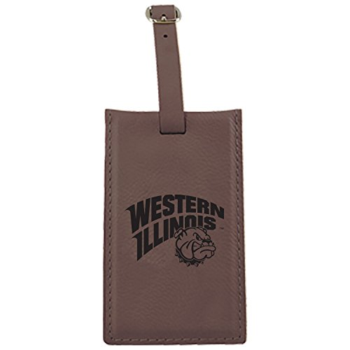 Western Illinois University -Leatherette Luggage Tag-Brown by LXG, Inc.