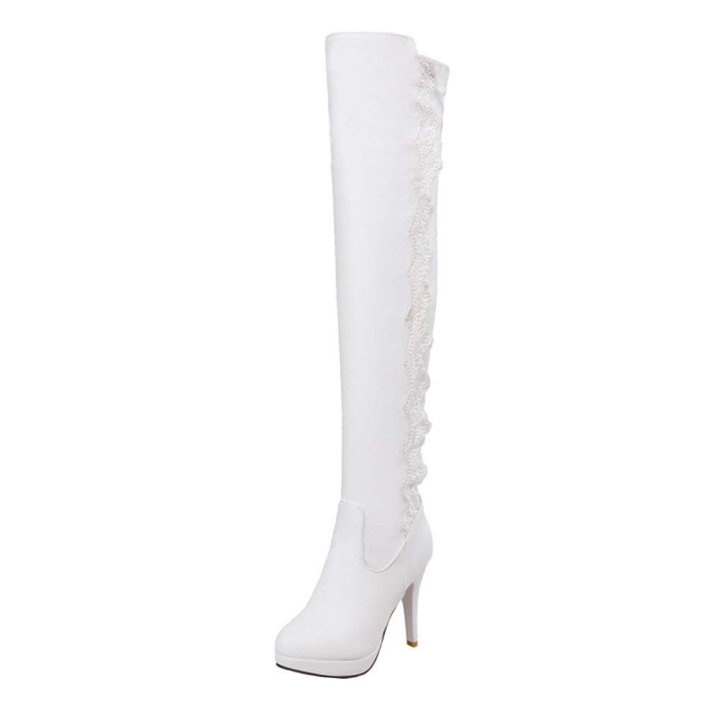 YE Stretch Chaussure Bottes-Cuissardes Stretch Femme Blanc Lacees Longue Bottes B078HC196R Plateforme Talons Hauts Aiguilles Sexy Chaude Hiver Blanc 89fae28 - therethere.space