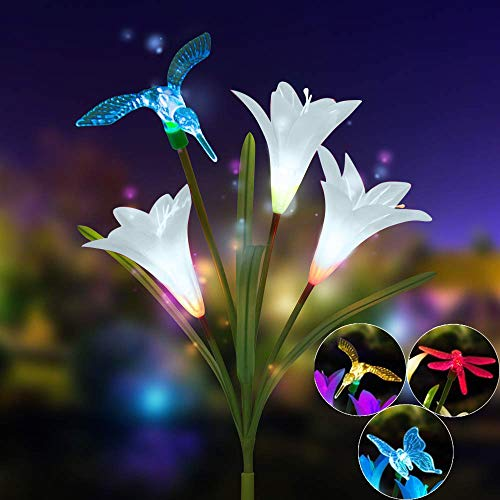 UPDD Lily Flower Solar Powered Garden Stake Light - Multi-Color Change LED Light Hummingbird Butterfly Dragonfly for Outdoor Path, Yard, Lawn, Patio,Garden, Backyard(29.5 inch)