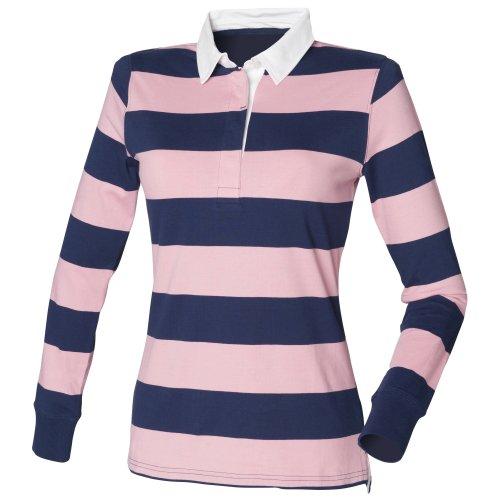 Front Row- Polo a rayas de manga larga para mujer Azul marino/Rosa