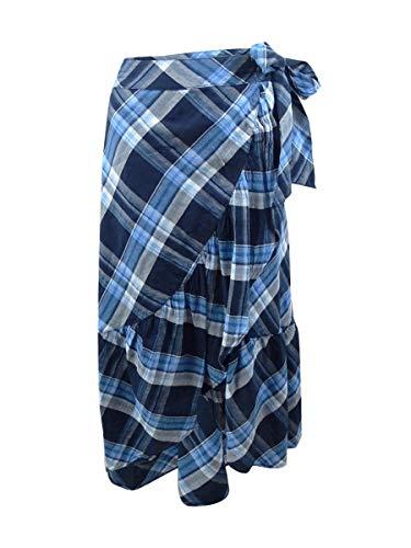 (LAUREN RALPH LAUREN Women's Plaid Ruffled Skirt Blue Multi 8)