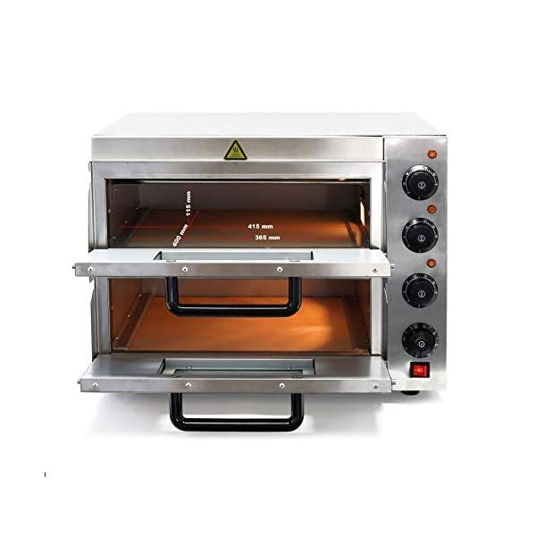 Forno per pizza professionale con doppia camera in acciaio inox, 3000W, 350°C Fornetto elettrico 4