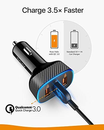 Roav SmartCharge Halo, by Anker, 3-Port USB 30W Car Charger with Quick Charge 3.0 and PowerIQ for iPhone Xs/XS Max/XR/X/8, iPad Pro/Air 2/Mini, Galaxy ...