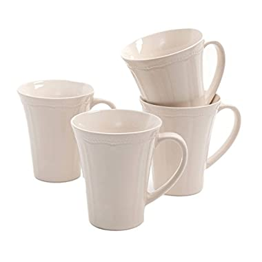 The Pioneer Woman Paige Crackle Glaze Mug Set, Set of 4 (Linen)