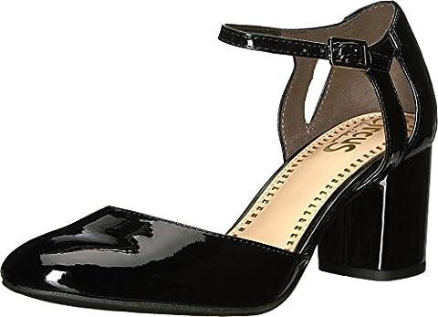 Circus by Sam Edelman Women's Jensen Pump, Black Patent, 9 Medium US - Mary Jane Shoe Block Heel