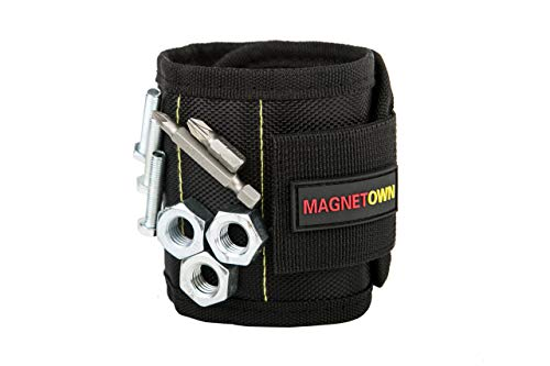 Magnetic Wristband   Strong and Powerful 10 Magnets for Holding Screws,Nails,Drill Bits - Best Unique Tool Gift for DIY - Magnetown Magnetic Wristband
