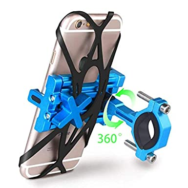Blue SpoLite Chrome Bike Phone Mount for Motorcycle-Bike-Bicycle Handlebars,Adjustable,Bike Phone Holder Fits Cell Phone iPhone X,8 8 Plus,7 7 Plus,6s 6s Plus,Galaxy S7,S6 for Cycling