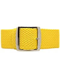 DaLuca Braided Nylon Perlon Watch Strap - Yellow (Polished Buckle) : 20mm