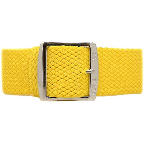 DaLuca Braided Nylon Perlon Watch Strap - Yellow (Polished Buckle) : 24mm