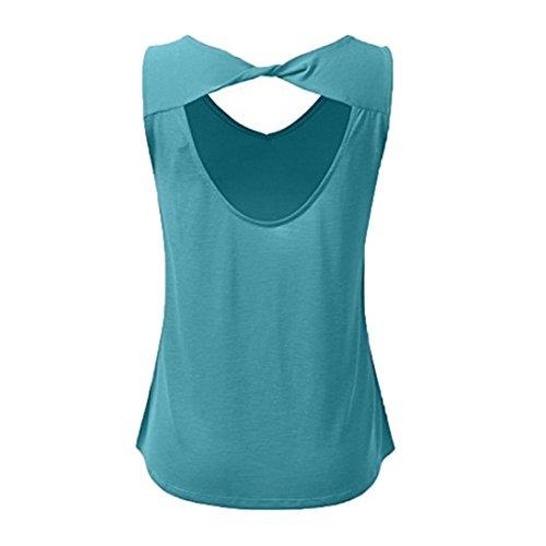 de sans Nu Casual Col Tank Shirt Taille 5XL Femme V S Chemisier Camisole Tee Solike Manche Chic Dbardeur Bleu Dos Blouse Plage Grande T Top Ete q8YOHnP