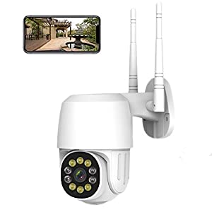 Outdoor Security Camera WiFi Surveillance ip Wireless Camera, Light & Siren Alarm with Motion Detection, Night Vision…