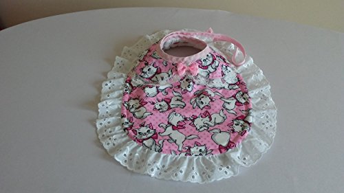 - Kittens -- Pink and White with attached pink bow -- White Terry Backing -- Adjustable snaps and ties / 3 to 18 Months and up -- will grow with baby.