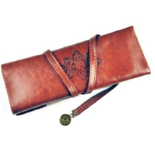 Miayon Twilight Retro Bandage Synthetic Leather Pen Bag Pencil Case Makeup Pouch(Dark Brown)