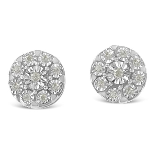 Sterling Silver Rose-cut Diamond Floral Cluster Stud Earring (0.2 cttw, I-J Color, I2-I3 (Diamond Floral Stud)