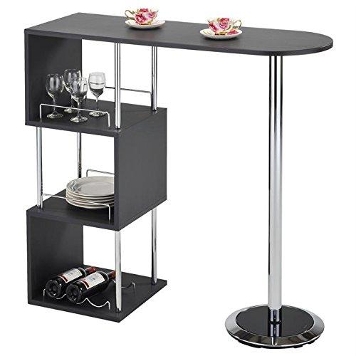 Table haute de bar VIGANDO mange-debout comptoir piètement métal chromé 3 tablettes bois MDF gris mat