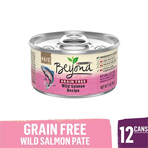 Purina Beyond Grain Free, Natural Pate Wet Cat Food, Grain Free Wild Salmon Recipe – (12) 3 oz. Cans
