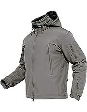 TACVASEN Waterdichte outdoorjas voor heren, gevoerd softshelljack, fleece, militaire jas met inklapbare capuchon