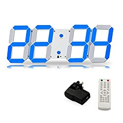 T Tocas( TM) Jumbo Numbers 44cm LED Digital Wall-on Clocks with Thermometer, Calendar, Snooze, Alarm, Countdown, Blue LED Display