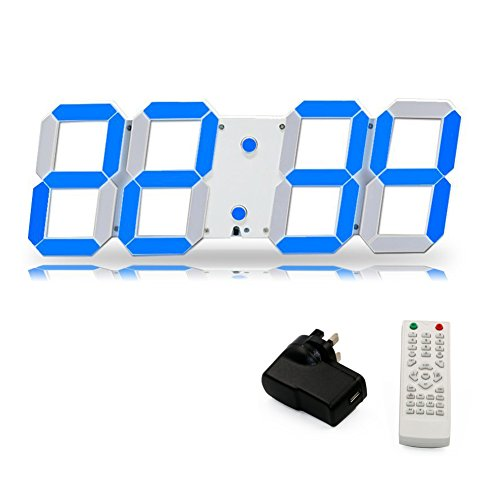 T Tocas( TM) Jumbo Numbers 44cm LED Digital Wall-on Clocks with Thermometer, Calendar, Snooze, Alarm, Countdown, Blue LED ()