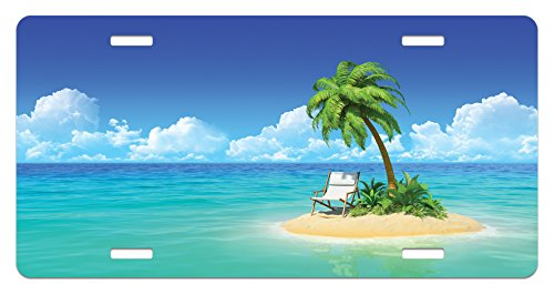 Lunarable Coastal License Plate, Desert Chaise Lounge Solitude Resting Holiday Tropic Resort Beach Leisure, High Gloss Aluminum Novelty Plate, 5.88