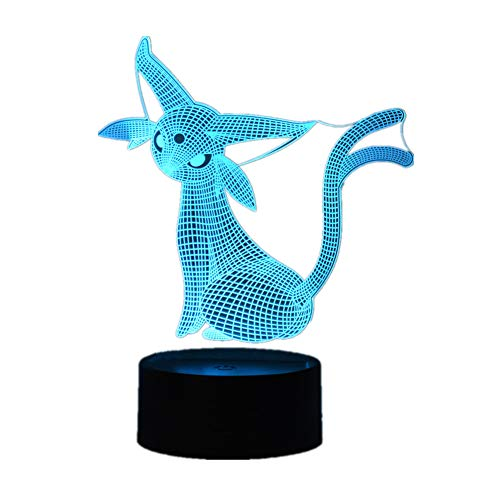 3D Espeon Cartoon Animation Creative Gift LED Night Light USB Table Lamp 7 Color Touch/Remote Control 16 Color Fashion Home Decoration Holiday Gift]()