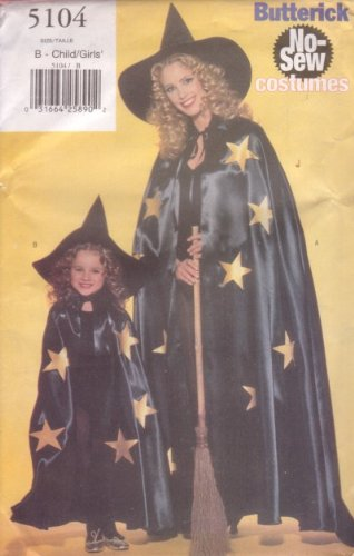 Butterick Costume Pattern 5104 Size (XS-L) No Sew Cape and (No Sew Cape)