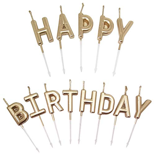 GKanMore Metallic Birthday Candles Happy Birthday Letters Cake Candles Toppers with Holder for Birthday Cake Decoration (Champagne)
