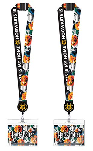 Harry Potter Merchandise Lanyard with Retractable ID Card Holder for Universal Studio Express Pass, Cruise Lanyards, Keychain | Features Hogwarts- Slytherin, Ravenclaw, Hufflepuff, Gryffindor | 2 Pack