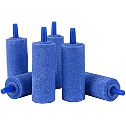 Pawfly 2 Inch Air Stones Cylinder 6 PCS Bubble Diffuser Airstones for Aquarium Fish Tank Pump Blue