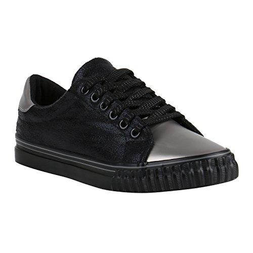 45c89913cb83 Stiefelparadies Glitzer Damen Sneakers Sneaker Low Metallic Schnürer Denim  Flats Turnschuhe Sportschuhe Flandell Schwarz Silber Grau