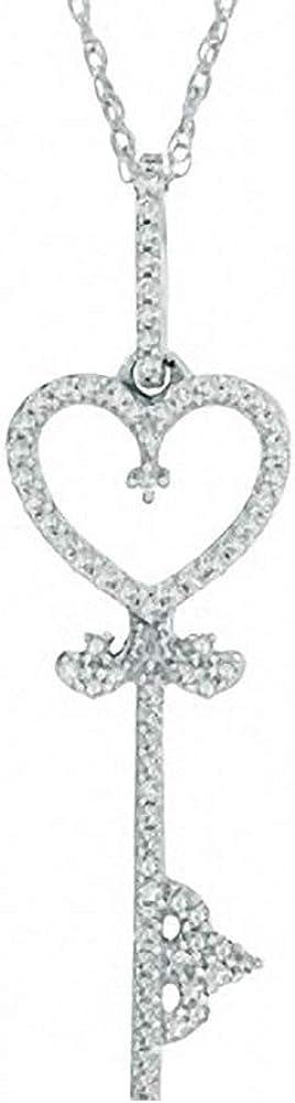 Silvercartvila 0.12 Cts Round Sim Diamond in 14K White Gold Plated Heart Pendant W//18 Chain