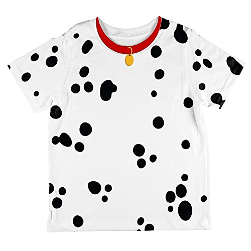 Dalmation Puppy Dog Costumes (Dog Dalmatian Costume Red Collar All Over Toddler T Shirt Multi 6T)