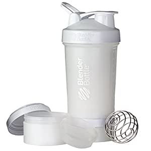 BlenderBottle ProStak System with 22-Ounce Bottle and Twist n' Lock Storage, White/White