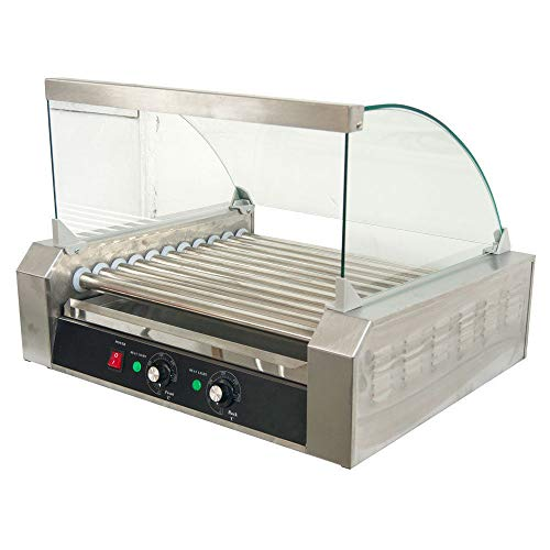 GHP 1650W 30-Hotdog Capacity Stainless Steel Commercial 11-Roller Hotdog Machine