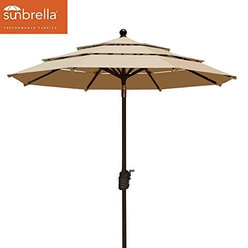 EliteShade Sunbrella 9Ft Patio Outdoor Table Umbrella 3 Layers with Ventilation,Bonus weatherproof Cover (Sunbrella Heather Beige) (Acrylic Umbrella)