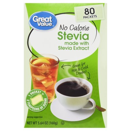 Pack of 2 - Great Value No Calorie Stevia Sweetener Packets, 80ct Box by Great Value (Image #2)