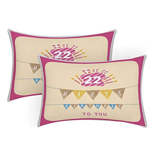 Lr Sham - 22nd Birthday Decorations Comfortable Pillow Covers,Happy Birthday to You with Candies Cake Candles Cute Print for Bedroom Living Room,Queen(30