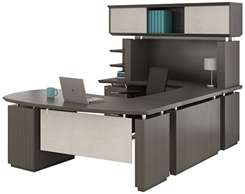 Mayline Sterling Series U Shaped Right Handed Desk System with Bridge and Credenza Box/Box/File and File/File Pedestal and Non-Handed ()