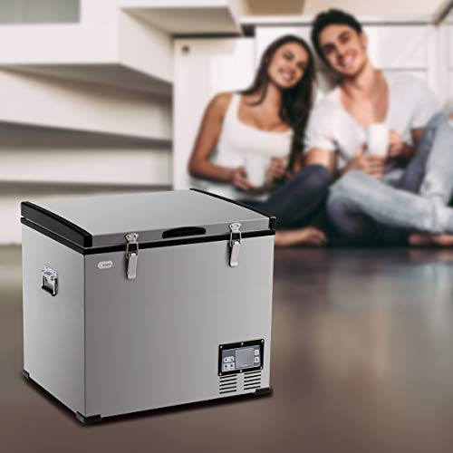 COSTWAY Chest Freezer, 63-Quart Compressor Travel Refrigerator with 3 Levels, -0.4°F to 50°F, Adjustable Temperature, LCD Display and Lighting Bulbs, Single Door Vehicle Fridge for Car, Home, Camping