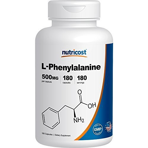 Nutricost L-Phenylalanine 500mg; 180 Capsules