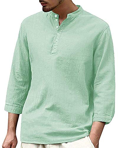 Tenkilo Men 3/4 Sleeve Henley Shirts Banded Collar Linen Summer Beach V Neck Loose Fit Blouse T Shirt (X-Large, A-Mint Green)
